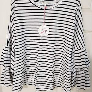 Umgee Striped Double Bell-Sleeve Tee